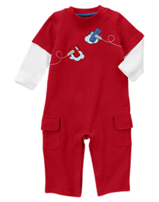 Brick Red Plane Double Sleeve One-Piece by Gymboree