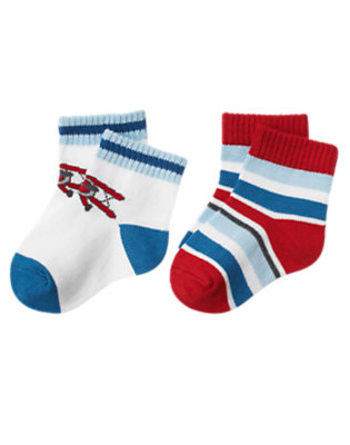Airy Blue Plane Stripe Sock Two-Pack by Gymboree
