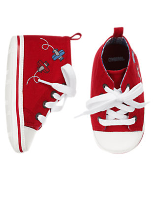 Baby Brick Red Plane Crib Sneaker by Gymboree