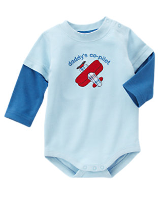 Airy Blue Daddy's Co-Pilot Bodysuit by Gymboree