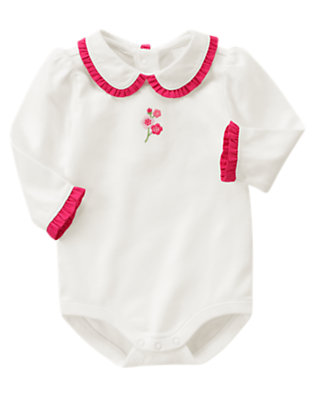 Ivory Embroidered Ruffle Collar Bodysuit by Gymboree