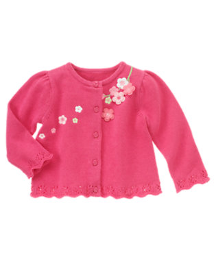 Fuchsia Rose Embroidered Blossom Cardigan by Gymboree