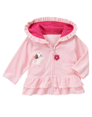 Baby Blossom Pink Kitty Velour Hoodie by Gymboree