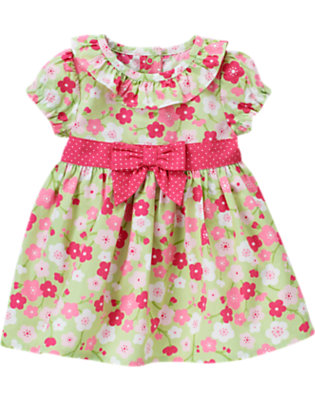 Foam Green Floral Blossom Floral Dress by Gymboree