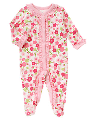 Baby Blossom Pink Floral Blossom Dot Footed One-Piece by Gymboree