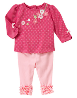 Fuchsia Rose Dot Embroidered Blossom Dot Two Piece Set by Gymboree