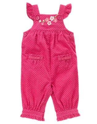Baby Fuchsia Rose Dot Embroidered Blossom Dot Overall by Gymboree