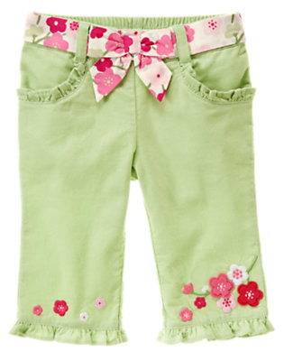 Foam Green Belted Blossom Corduroy Pant by Gymboree