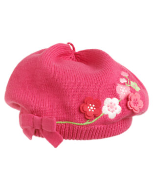 Baby Fuchsia Rose Embroidered Blossom Beret by Gymboree