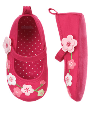 Fuchsia Rose Embroidered Blossom Crib Shoe by Gymboree