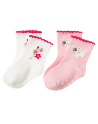 Ivory/Blossom Pink Blossom Kitty Sock Two-Pack by Gymboree