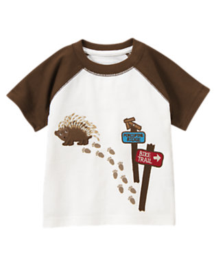 Ivory Porcupine Trail Tee by Gymboree