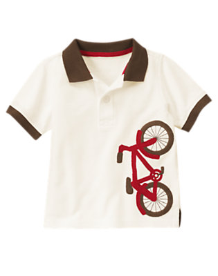 Ivory Big Bike Pique Polo Shirt by Gymboree