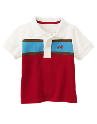 Bicycle Red Bicycle Chest Stripe Pique Polo Shirt by Gymboree