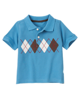 Trailblazer Blue Argyle Pique Polo Shirt by Gymboree