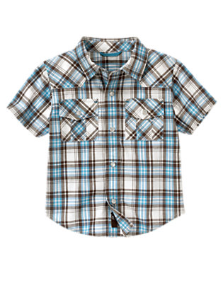 Hazy Blue Plaid Plaid Western Shirt by Gymboree