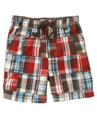 Bicycle Red Patchwork Plaid Patchwork Short by Gymboree