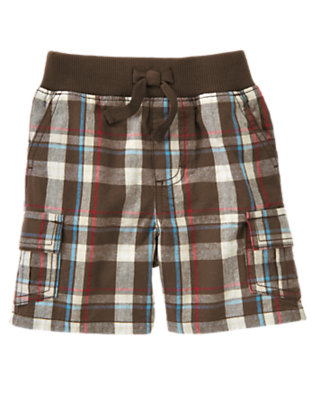 Chocolate Brown Plaid Pull-On Chocolate Brown Plaid Cargo Short by Gymboree