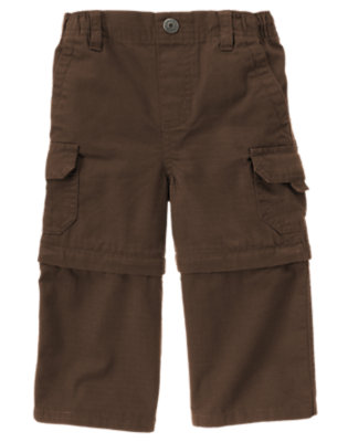 Chocolate Brown Convertible Ripstop Cargo Pant by Gymboree