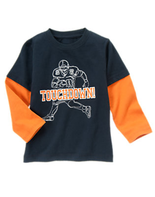Gym Navy Touchdown Double Sleeve Tee by Gymboree