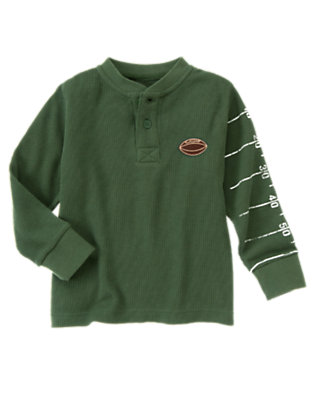 Forest Green Yard Line Thermal Henley Tee by Gymboree