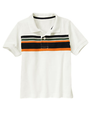 Boys Ivory Chest Stripe Pique Polo Shirt by Gymboree