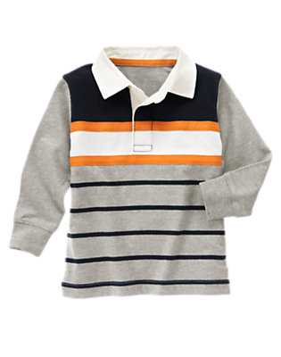 Heather Grey Twill Tape Stripe Rugby Shirt by Gymboree