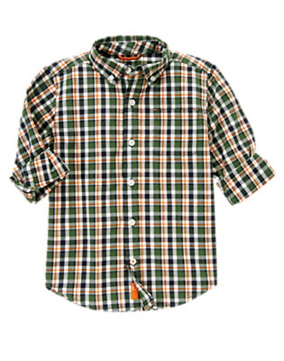 Forest Green Plaid Plaid Shirt by Gymboree