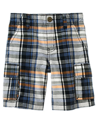 Boys Ivory Plaid Plaid Cargo Short by Gymboree