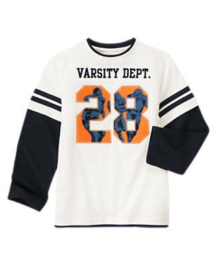 Ivory Varsity Football Double Sleeve Tee by Gymboree