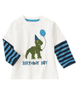 Toddler Boys White Birthday Boy Dinosaur Double Sleeve Tee by Gymboree