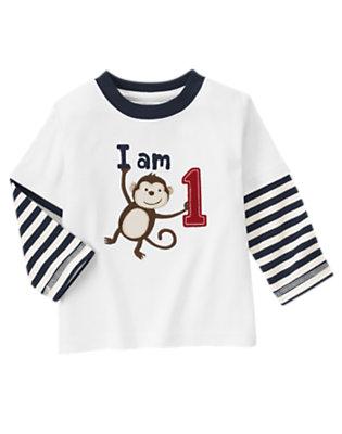 Toddler Boys White 1st Birthday Monkey Double Sleeve Tee by Gymboree