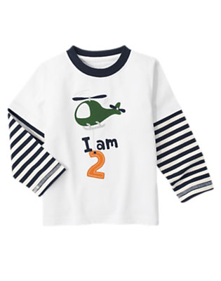Toddler Boys White 2nd Birthday Helicopter Double Sleeve Tee by Gymboree