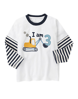 Toddler Boys White 3rd Birthday Tractor Double Sleeve Tee by Gymboree