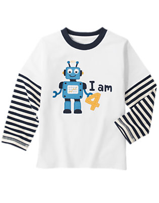 Toddler Boys White 4th Birthday Robot Double Sleeve Tee by Gymboree