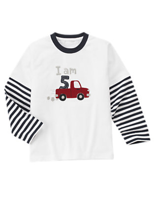 Toddler Boys White 5th Birthday Truck Double Sleeve Tee by Gymboree