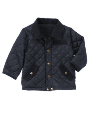 Toddler Boys Dark Navy Bike Explorer Quilted Barn Jacket by Gymboree