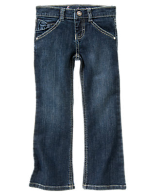 Girls Medium Wash Denim Bow Pocket Bootcut Jean by Gymboree