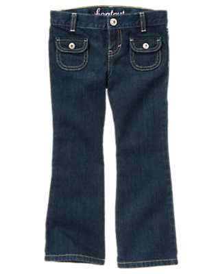 Girls Dark Wash Denim Rhinestud Pocket Bootcut Jean by Gymboree
