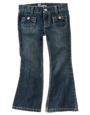 Girls Dark Wash Denim Gem Bow Pocket Flare Jean by Gymboree