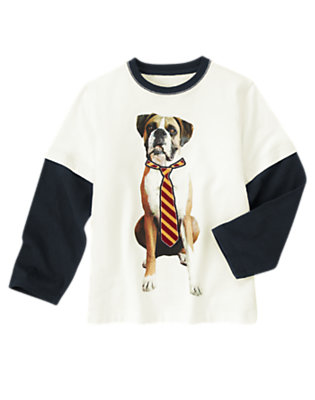 Ivory Dog Tie Double Sleeve Tee by Gymboree