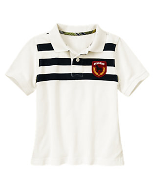 Ivory Patch Stripe Pique Polo Shirt by Gymboree