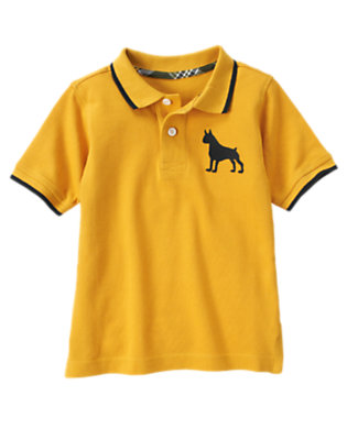 Boys Mustard Yellow Dog Polo Shirt by Gymboree