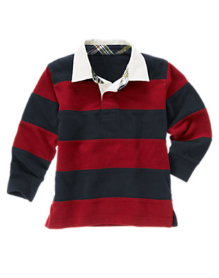 Gym Red Stripe Pieced Stripe Rugby Shirt by Gymboree