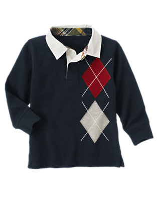 Gym Navy Argyle Rugby Shirt by Gymboree
