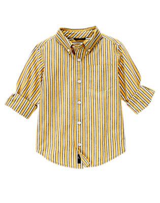 Mustard Yellow Mini Stripe Stripe Shirt by Gymboree
