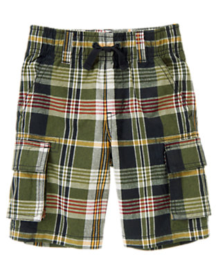 Boys Moss Green Plaid Drawstring Plaid Cargo Short by Gymboree