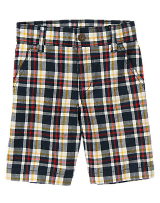 Gym Navy Plaid Plaid Short by Gymboree
