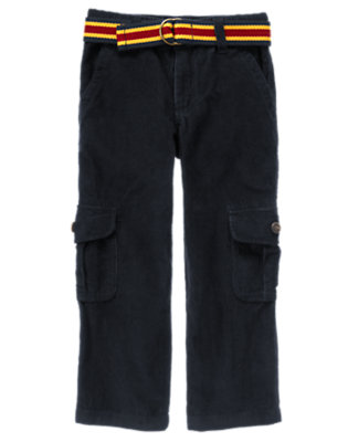 Gym Navy Belted Corduroy Cargo Pant by Gymboree