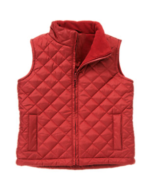 Boys Academy Red Quilted Vest by Gymboree